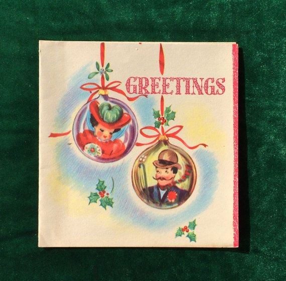 Cute 1930\u0027s Christmas card with old fashioned man and woman in