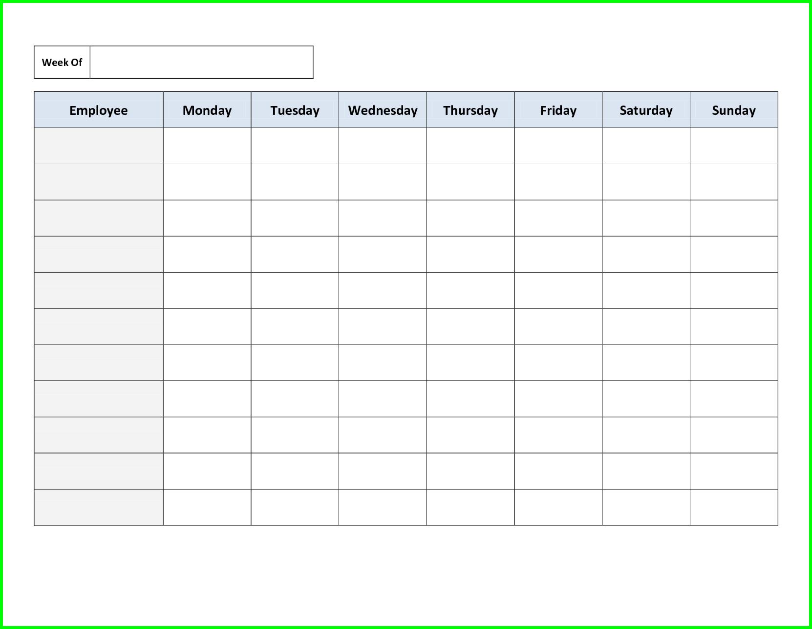 Employee Weekly Schedule Template Excel