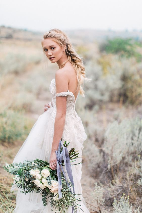 Stunning off-the-shoulder gown by Maggie Sottero