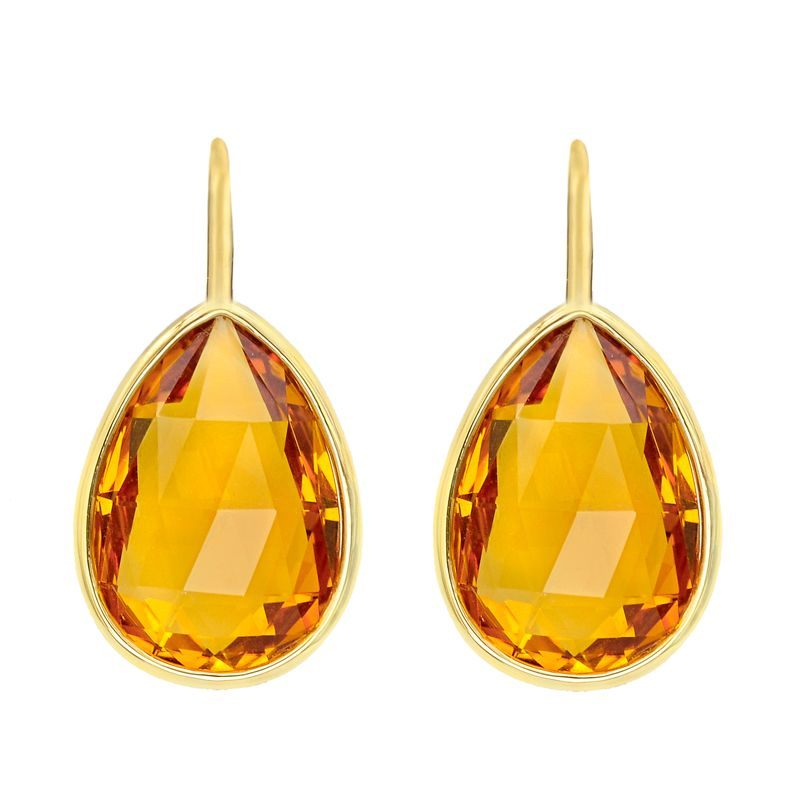 Pear Shape Topaz Glass Earrings Tear Drop Faceted Amber Brown Vintage Costume Jewelry Fashion Accessories For Her