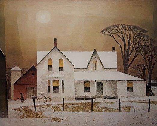 AJ Casson Farm House Winter Sun Landscape Counted Cross Stitch Chart Pattern
