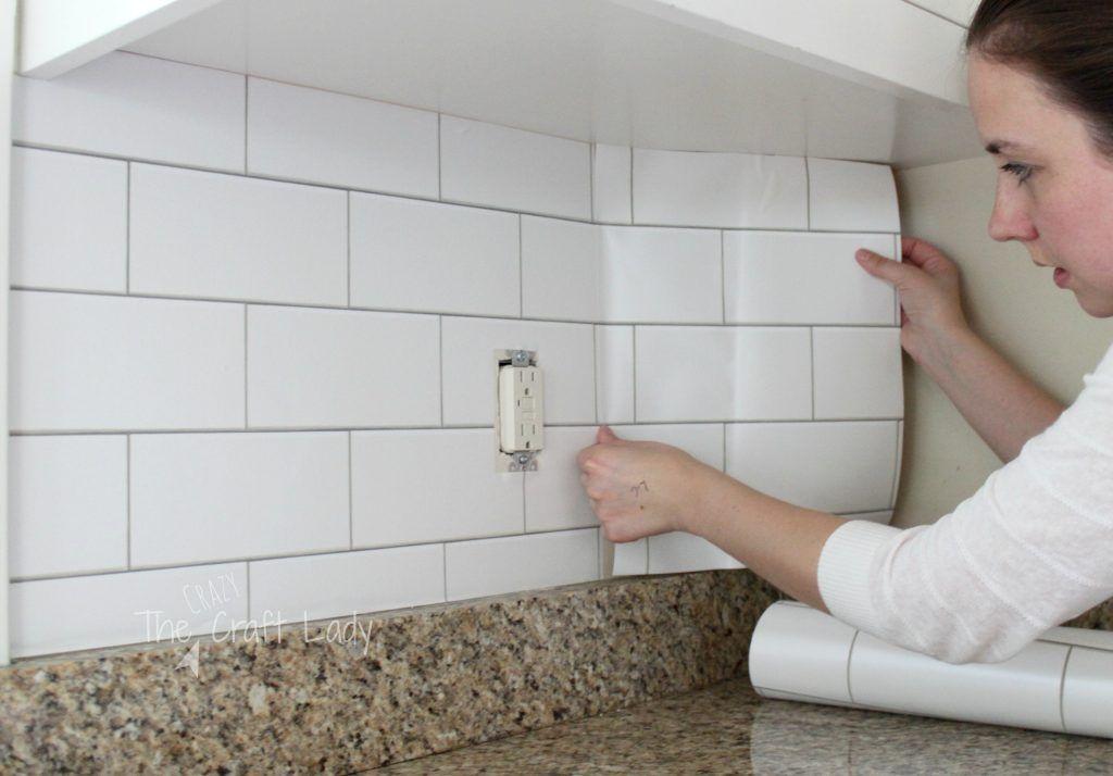 White subway tile temporary backsplash the full tutorial for Textured wallpaper backsplash