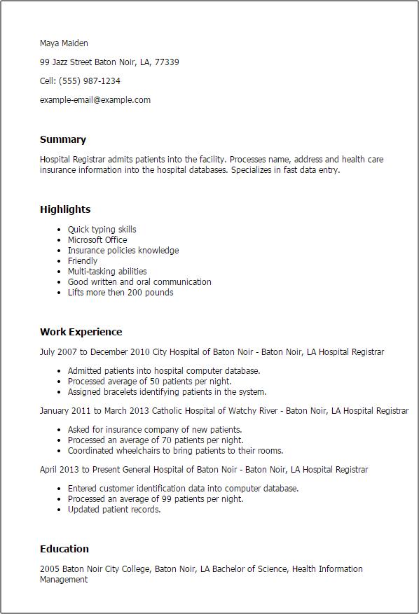 Resume Templates Hospital Registrar Sample Resume Resume Cover Letter For Resume
