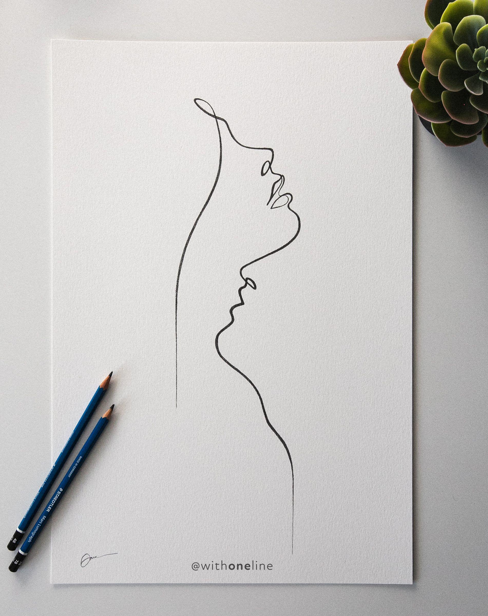 Lips Like Compass / minimal one line portrait / romantic line art / WithOneLine