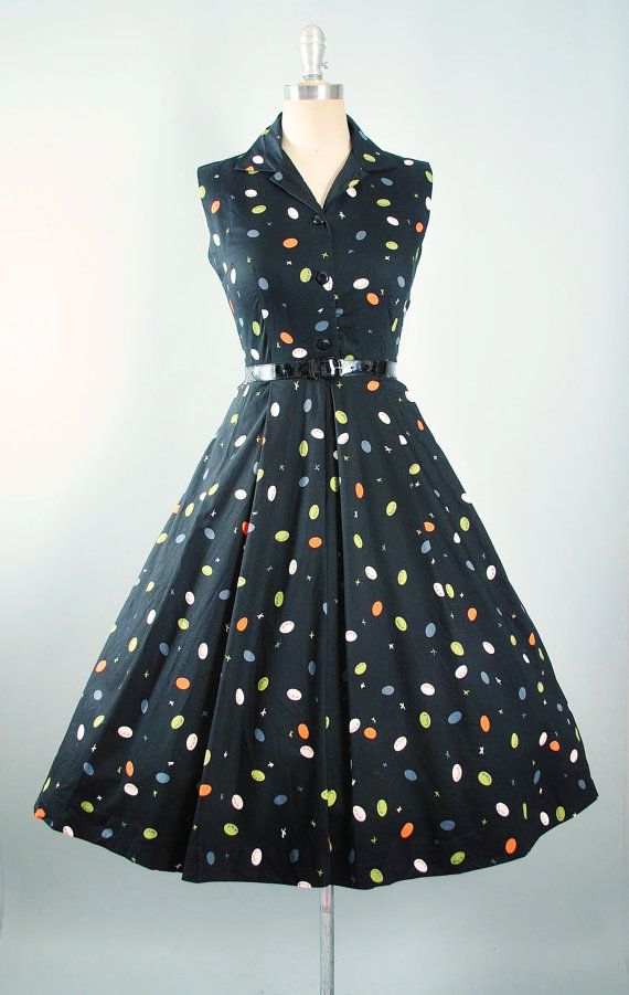 d2c602ecd9a Vintage 50s Novelty Print Dress   1950s Belted by GeronimoVintage ...
