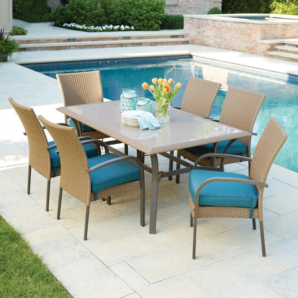 Hampton Bay Corranade 7 Piece Wicker Outdoor Dining Set With Charleston Cushions Hd17534 At The Home Depot Mobile