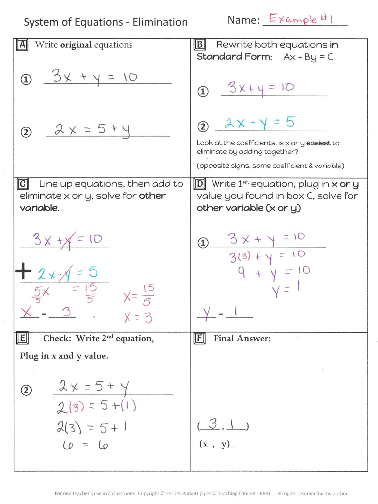 System Of Equations Elimination Organizer Notes And