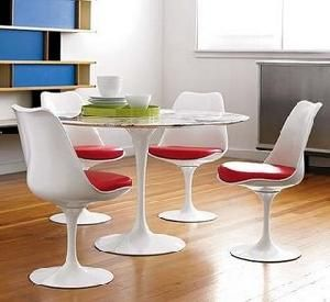 Designer Modern 39 Eero Saarinen Style Tulip Dining Table With White Marble  Top And 4 Tulip Side Chairs