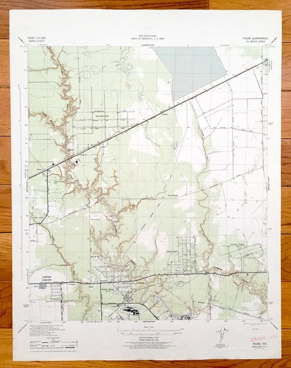 Antique Houston Texas 1945 Us Geological Survey Topographic Map