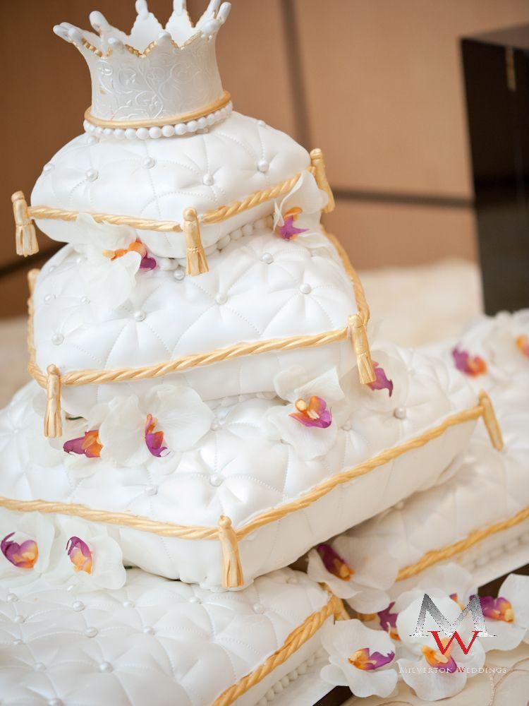 Gold Wedding Cake Pillow