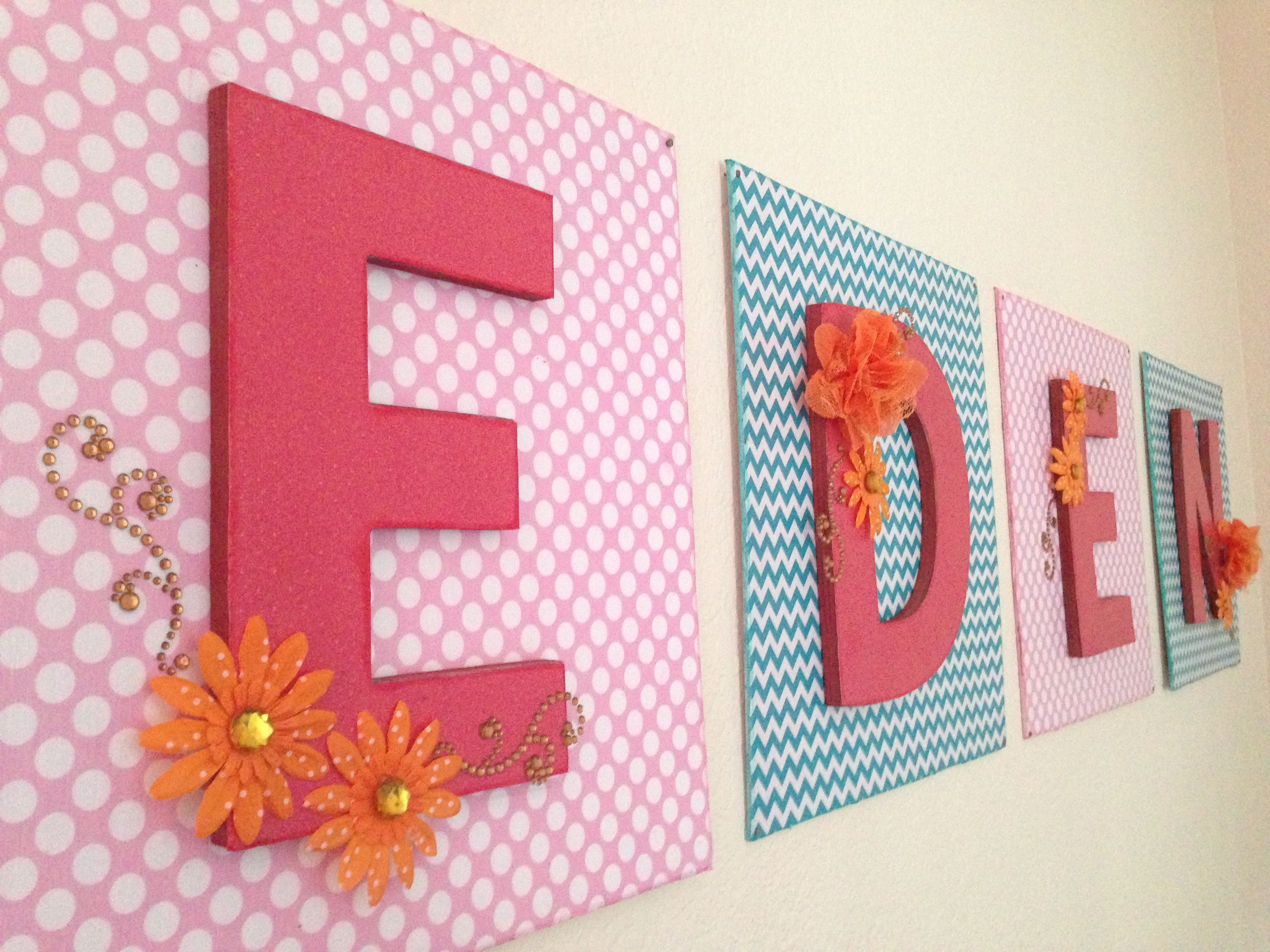 Diy nursery letters baby name wall art eden modge podge for Homemade wall letters