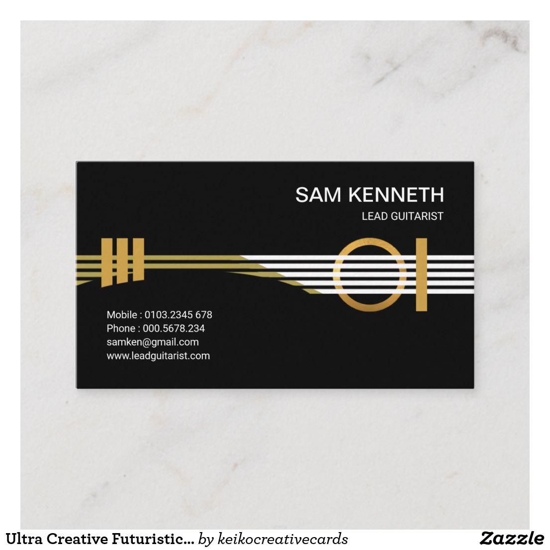 Ultra Creative Futuristic Guitarist Musician Business Card Zazzle Com In 2021 Musician Business Card Music Business Cards Social Media Design Graphics