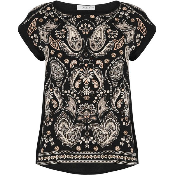 ORNATE PAISLEY TEE (52 NZD) ❤ liked on Polyvore featuring tops, t-shirts, paisley top, paisley print top, paisley t shirt, twist top and paisley tee