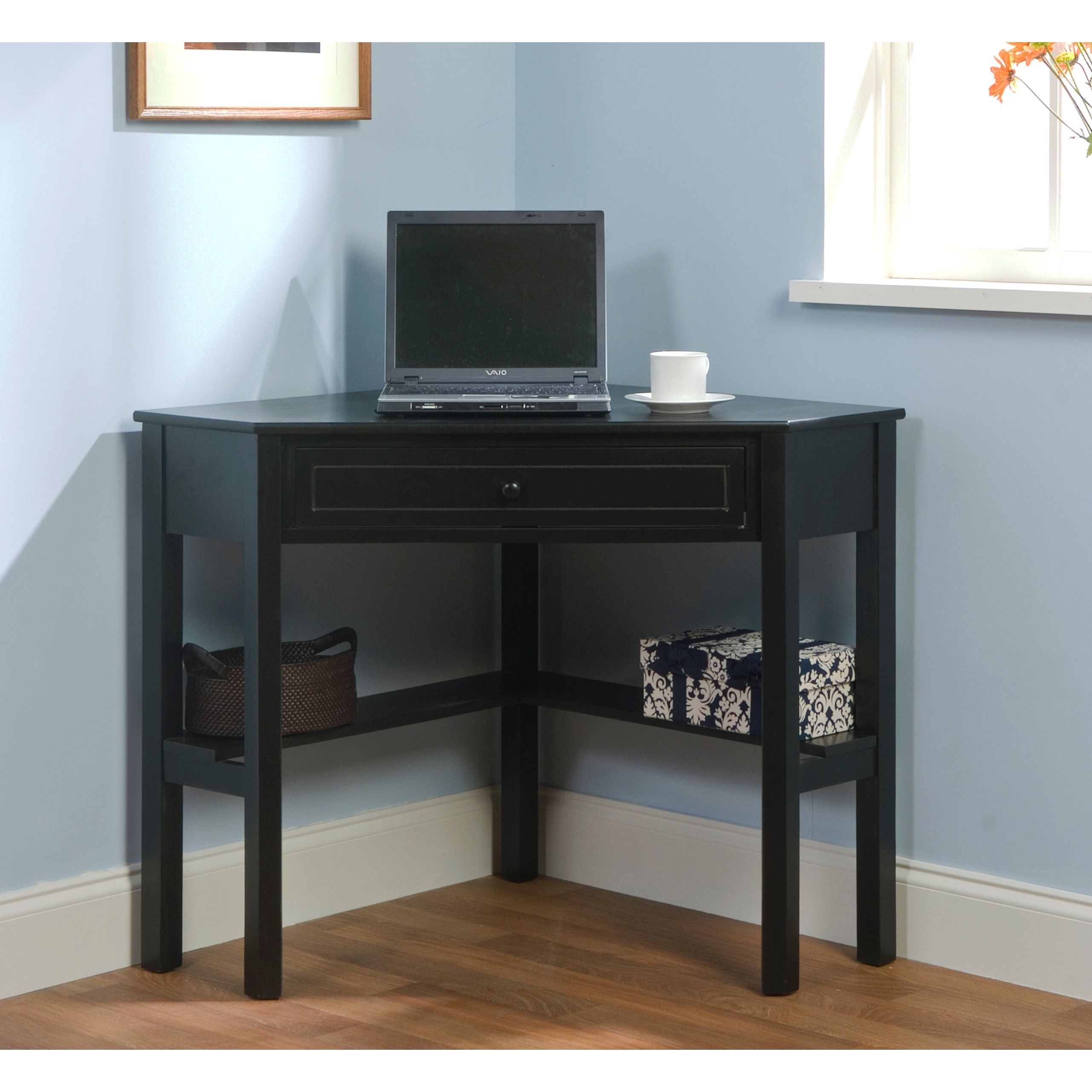 Simple Living Black Wood Corner Computer Desk With Drawer   Overstock  Shopping   Great Deals On