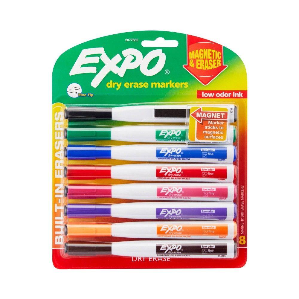 8pk Dry Erase Marker Magnetic And Eraser Fine Tip Multicolor Expo In 2021 Dry Erase Markers Dry Erase Markers