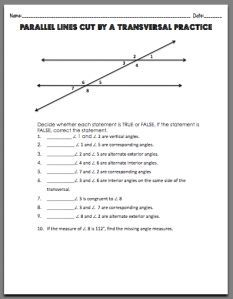 Parallel Lines Cut by a Transversal | Worksheets, Math and Math ...