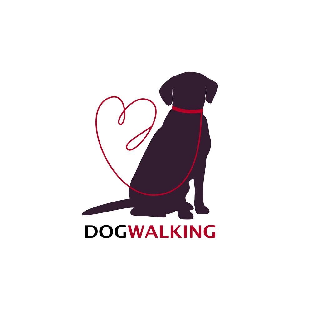 Dog Walking Logo Template Sitting Silhouette Dog Walking Logo Dog Walking Business Dog Silhouette