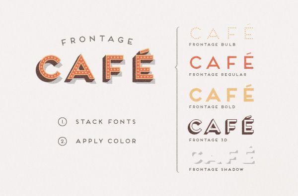 Vintage Cafe Font Logo Font Called Frontage Outline Lettering Typography Typography Fonts