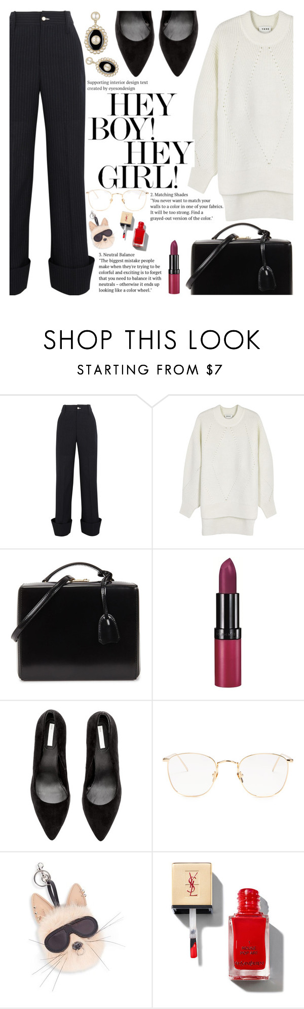 """""""Untitled #2147"""" by anarita11 ❤ liked on Polyvore featuring Jacquemus, DKNY, Mark Cross, Rimmel, Linda Farrow and STELLA McCARTNEY"""