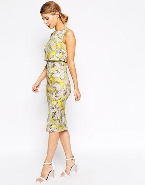 Enlarge ASOS Neon Yellow Crop Top Pencil Dress