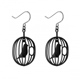 Leuk cadeau: Happy Bird oorbellen zwart van Soonsalon