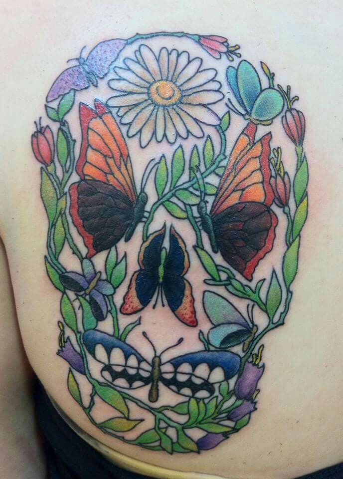 #Flower #skull #tattoo by Jason at #ResurrectionInk #Savannah