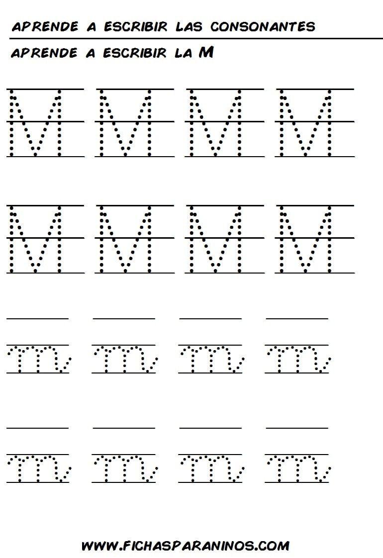 Fichas Para Aprender A Escribir La Letra M Aprender A Escribir Aprender A Consonantes