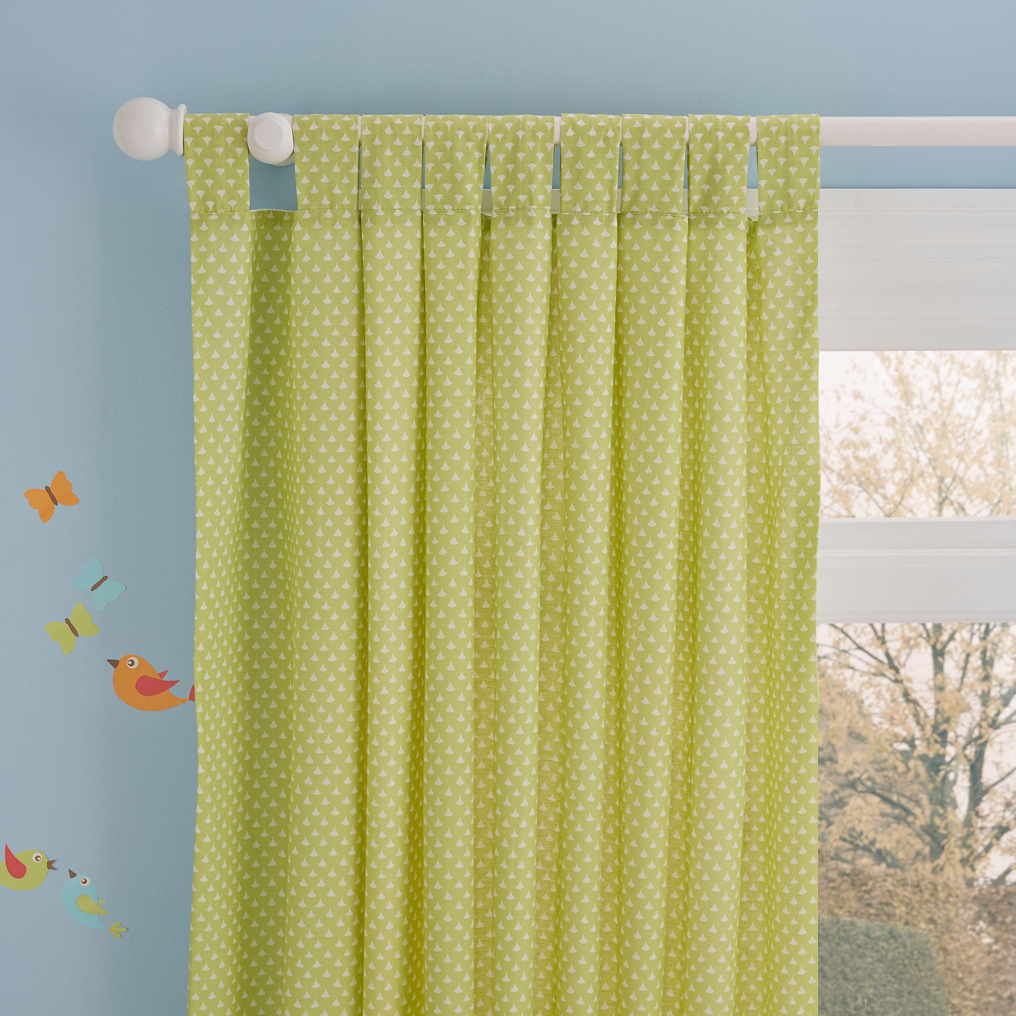 Owl Green U0026 White Spotty Tab Top Childrenu0027s Curtains (W)168cm (L)