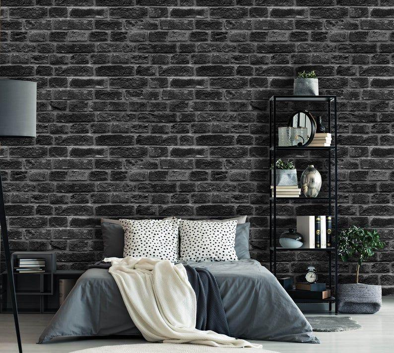 Removable Peel N Stick Wallpaper Self Adhesive Wall Etsy Brick Interior Wall Black Brick Wall Brick Wall Bedroom