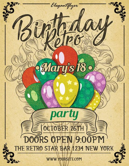 Birthday Retro Party Free Flyer Template -    freepsdflyer - birthday flyer templates free