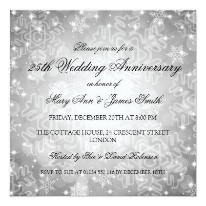 Winter Wedding Anniversary Festive Bokeh Silver Invitation