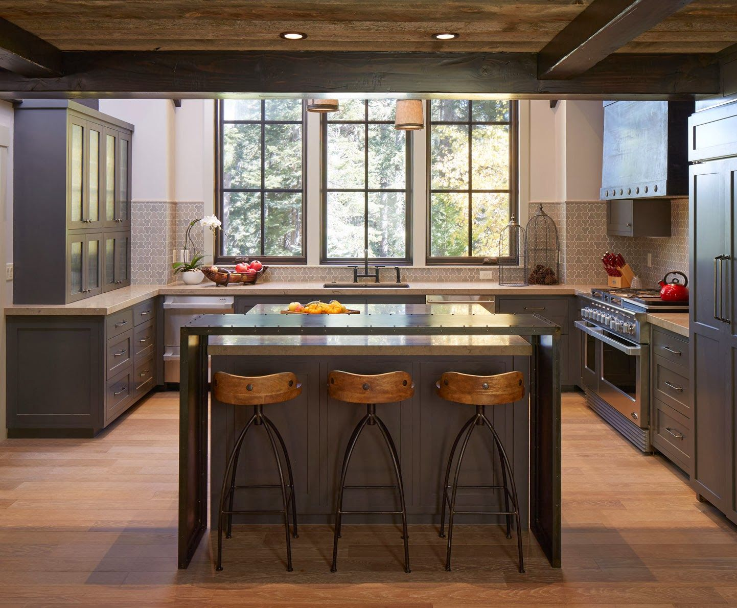 Kitchen - grey and wood fnishes. Lake Tahoe home.
