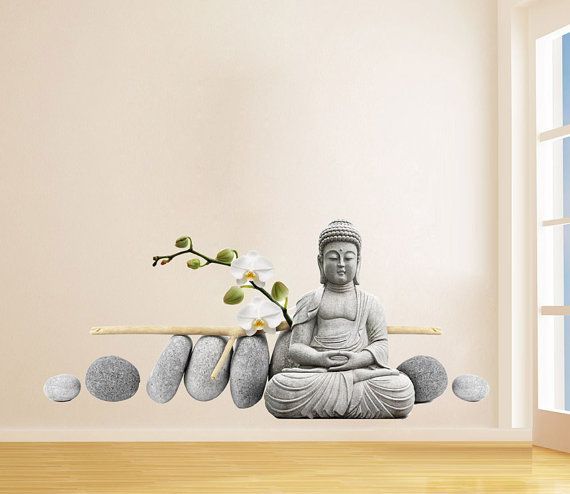 buddha statue sitzend buddha abbildung dekor wand aufkleber asian