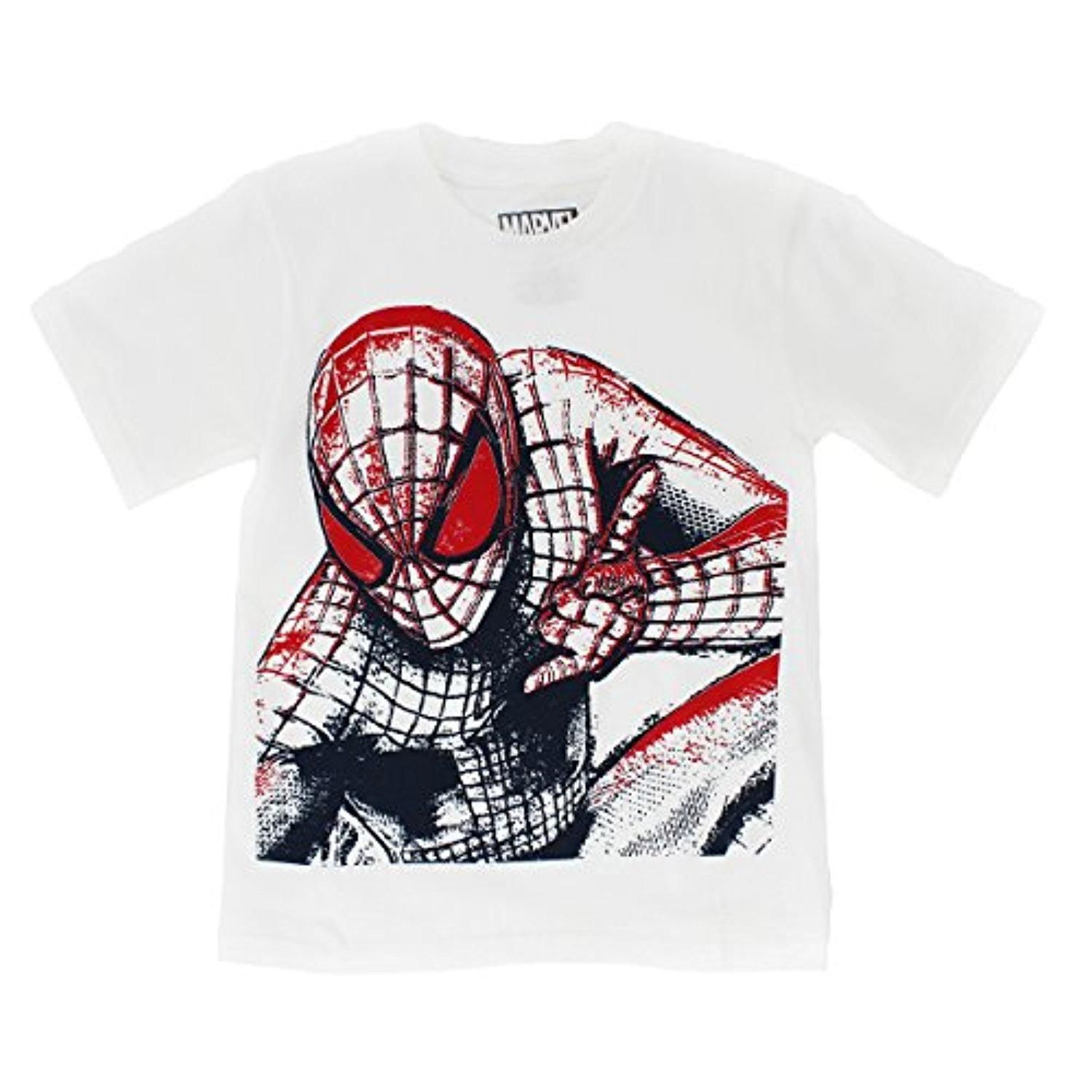 Marvel Comics Heroes Boys T-Shirt (7, White (Spider-Man)) - Brought to you by Avarsha.com