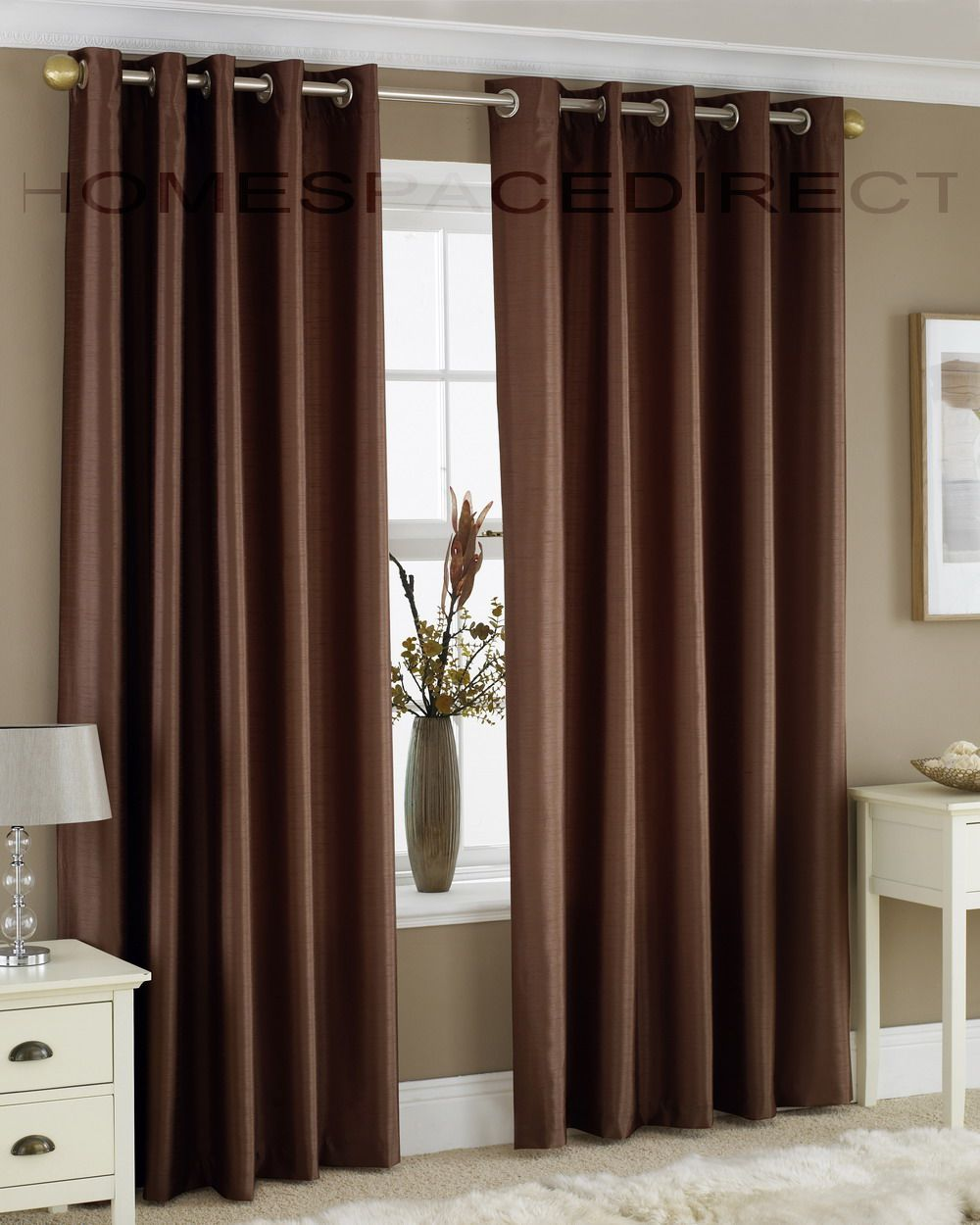 Brown Curtains For The Bedroom To Tie In Blue And White
