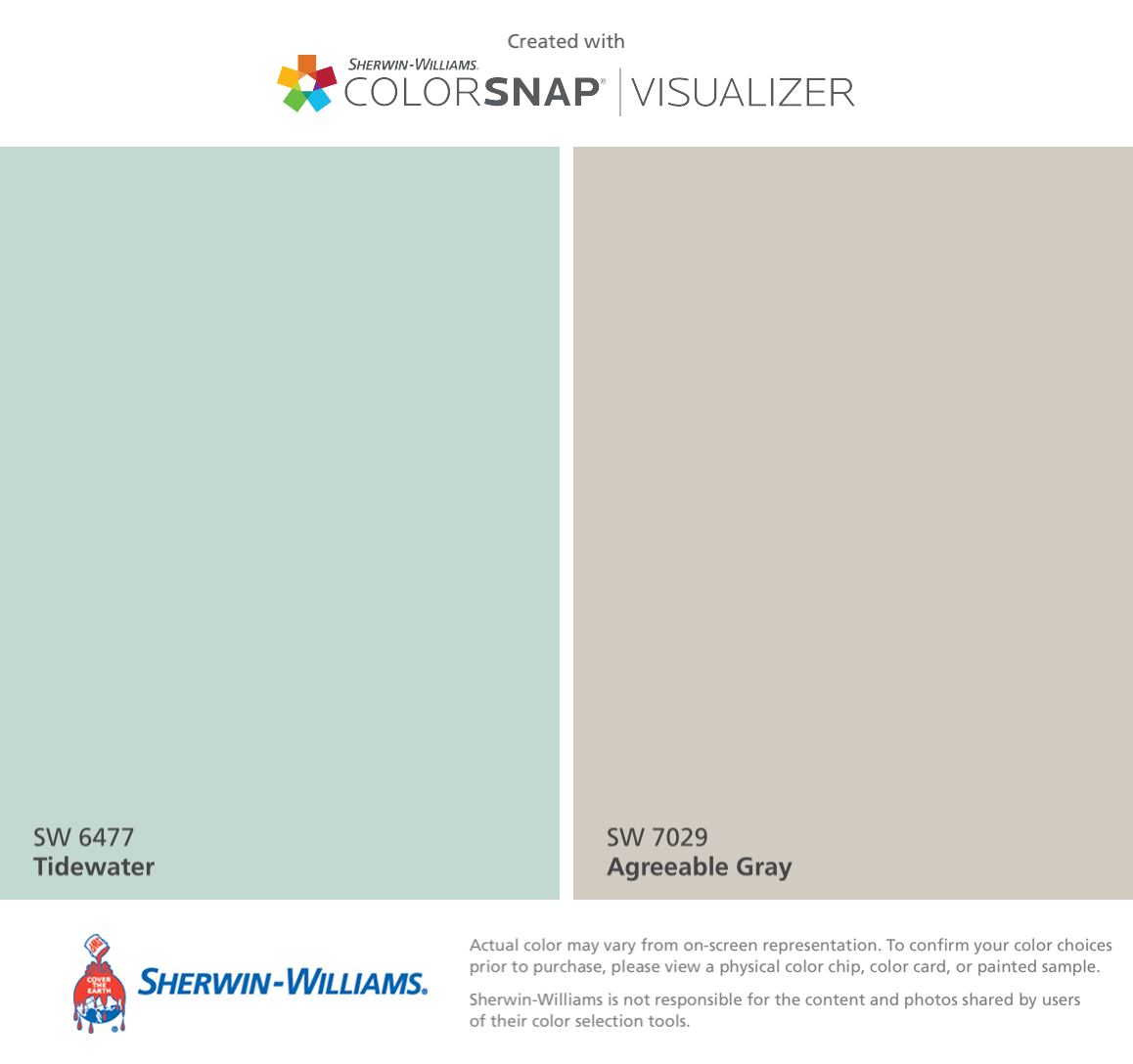 I found these colors with ColorSnap® Visualizer for iPhone by Sherwin-Williams: Tidewater (SW 6477), Agreeable Gray (SW 7029). #sherwinwilliamsagreeablegray