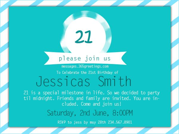 21st Birthday Invitations Messages Greetings And Wishes