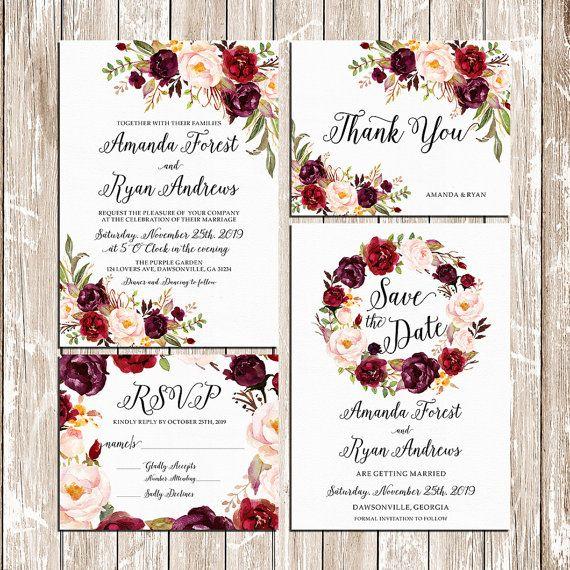 Printable Wedding Burgundy Purple And Pink Invitation Set