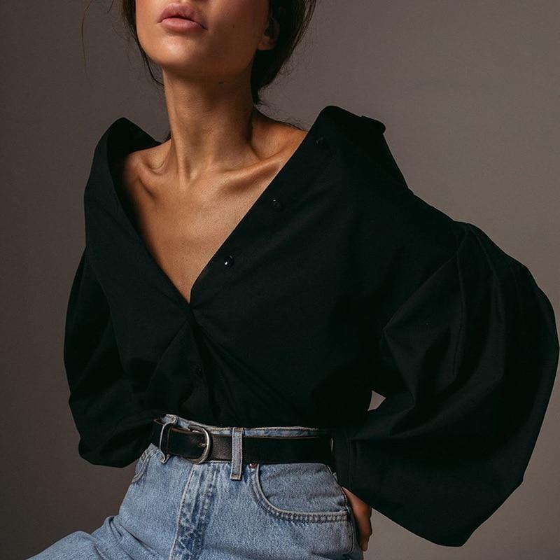 White Black Loose Button Puff Sleeve Streetwear Top – klozetstyle.com