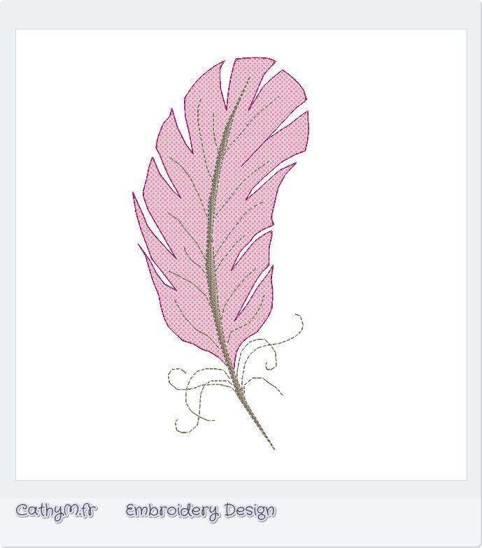 Appliqué Jolie Plume - motif pour brodeuse : Broderie par CathyM