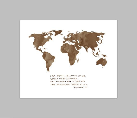 Habakkuk 15 World Map watercolor bible verse christian world