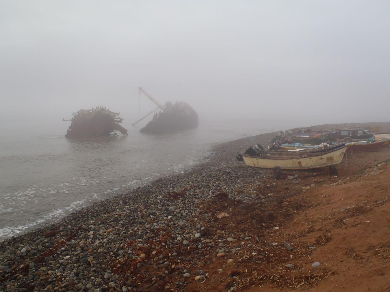 Shipwreck in the fog.