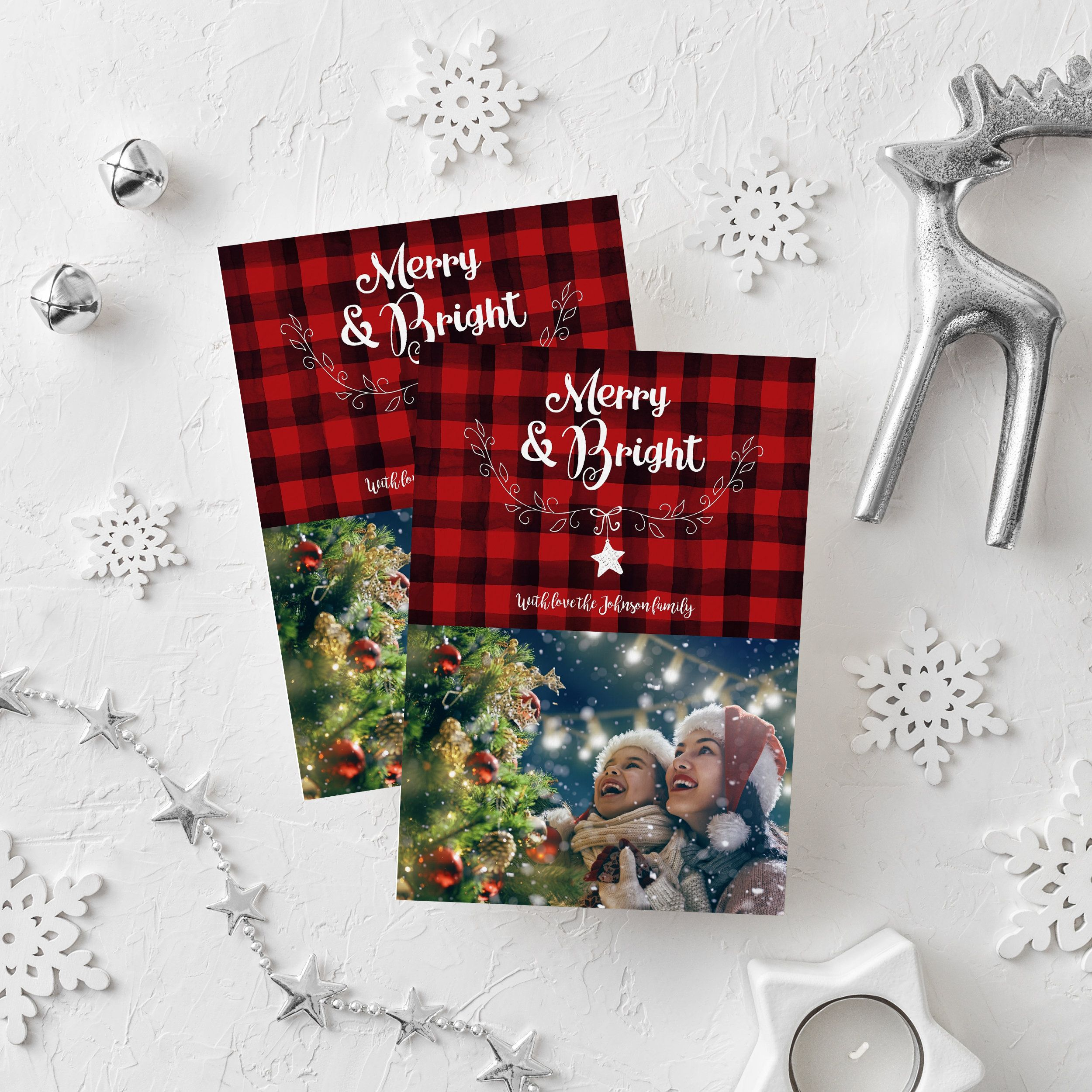 Editable Christmas Card Template Red Buffalo Plaid Merry And Bright Rustic Holiday Greeting C Christmas Card Template Holiday Greeting Cards Christmas Cards