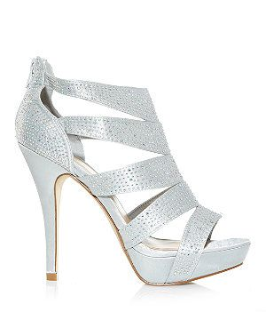 Silver Diamante Cut Out Side High Vamp Heels  | New Look