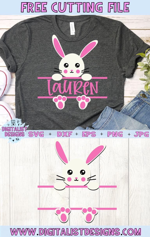 Free Split Monogram Easter Bunny SVG for Girls Easter