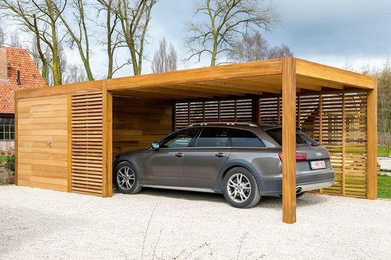 Garage Met Carport : Carport of garage in hout met berging of fietsstalling woodstar