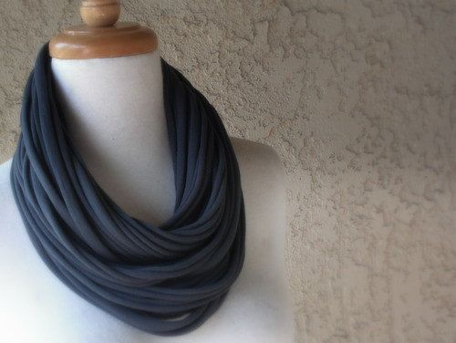 Smokey Gray Deluxe Jersey Scarf Necklace Tee Shirt by sandeeknits, $32.00