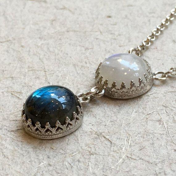 Gemstones pendant, labradorite pendant, moonstone necklace, crown necklace, bohemian silver necklace, gemstone necklace - Angels N2031