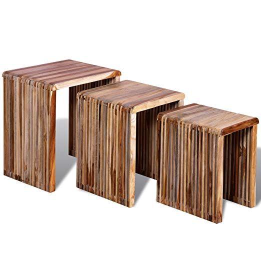 Anself Wood Nesting Tables Colourful Reclaimed Teak Set Of 3