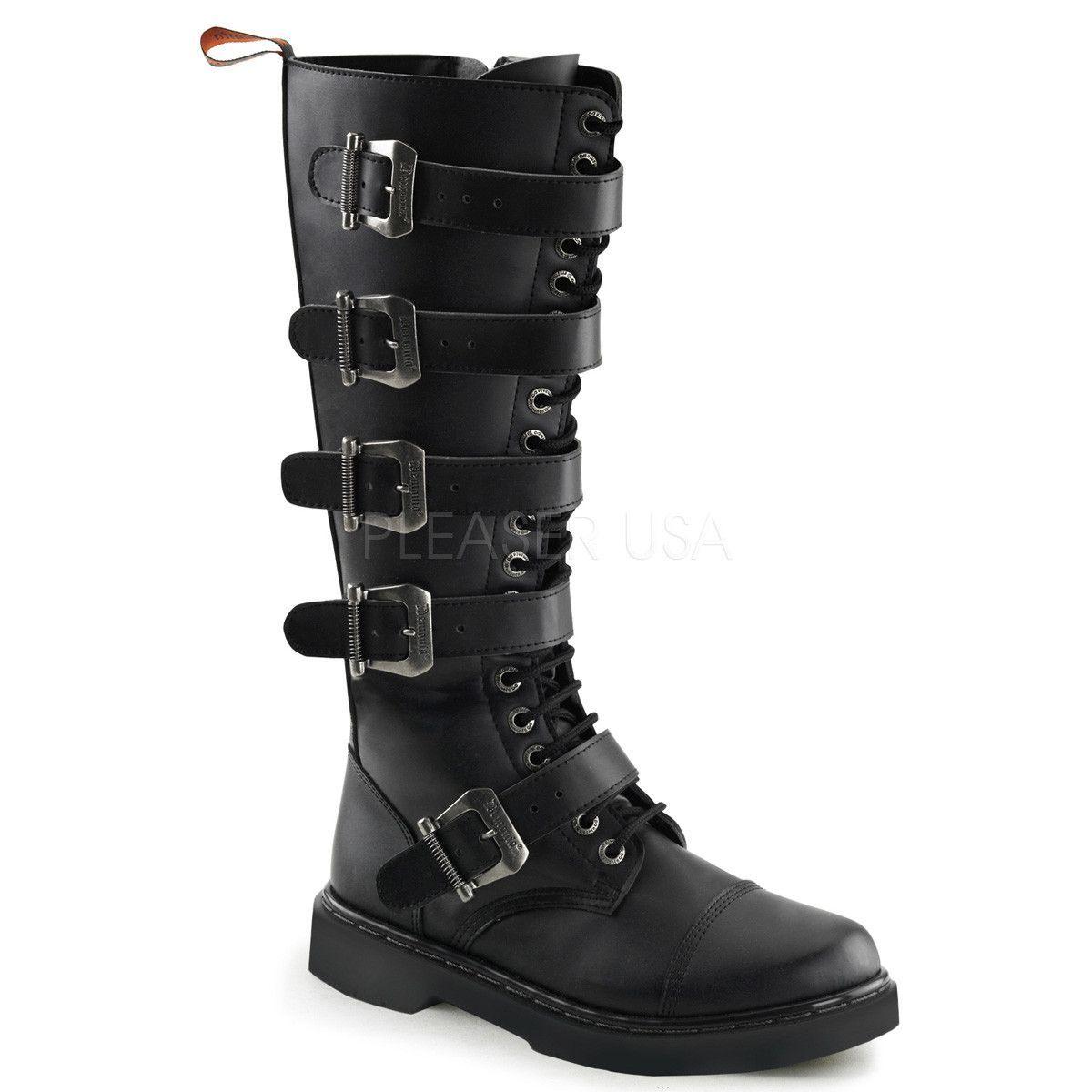 Demonia Men's DEFIANT-420 Men's Black Vegan Leather Goth Punk Combat Boots
